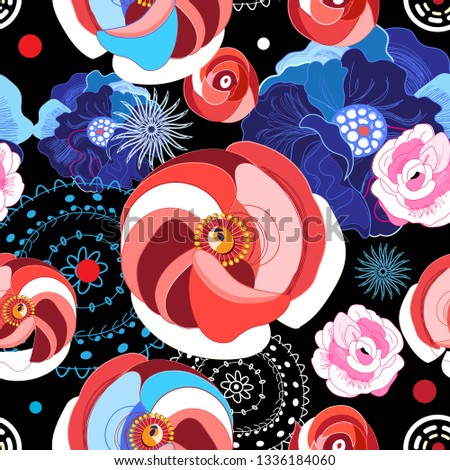 Vector seamless bright pattern of different flowers on a dark background