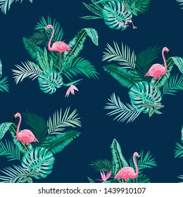 vector seamless bright vibrant lush tropical pattern with flamingos. Exotic birds in tropic leaves, monstera leaf, banana leaves, areca palm leaves with flowers.