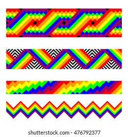 Vector seamless brushes in rainbow colors. Gay pride emblem