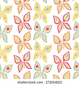 Vector seamless butterfly pattern - cute insects hand drawn doodles for kids and children decoration