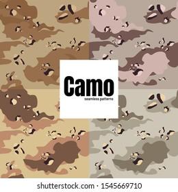 Vector seamless camo desert sand military army fatigue pattern design