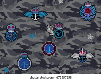 Vector Seamless camouflage pattern with royal patches. Embroidery imitation.