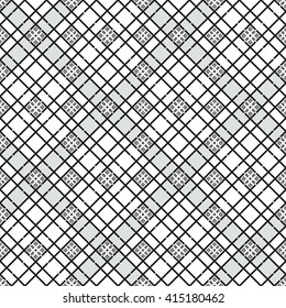 Vector Seamless Ceramic pattern. Squares pattern. Oriental Pattern. Ethnic pattern.  Zigzag background. Abstract Black and White background. Geometric backdrop. Tiled pattern. Vector Regular texture.