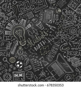 Vector seamless chalk science pattern. Education, math, laboratory, chemistry, research symbols on blackboard background. Dna, test-tubes, microscope, stationery. Hand-drawn boundless background.