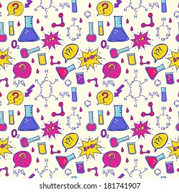 Vector seamless chemistry pattern. Vector chemistry class background.