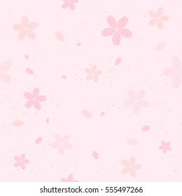 Vector seamless cherry blossom pattern. Pink sakura flowers with flying petals. Beautiful grainy texture background.