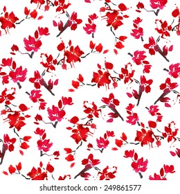 vector seamless cherry blossoms. background of blooming red flowers. symbol of spring - Japanese cherry Sakura. watercolor pattern branch blooming