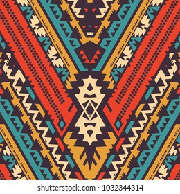 Vector Seamless Chevron Pattern in Tribal Style. Ethnic Ornament with Triangles and Stripes. Textile Design