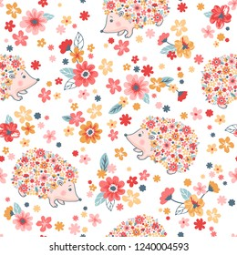 Vector seamless childish floral pattern with flowers and cute hedgehogs on pink background