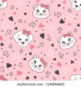 Vector seamless childish funny pattern with hearts and cute cartoon cats and dogs on pink background