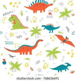 Vector seamless childish pattern with colorful dinosaurs, vulcan, palm tree, shell. Can be printed and used as wrapping paper, wallpaper, fabric, textile, background, etc