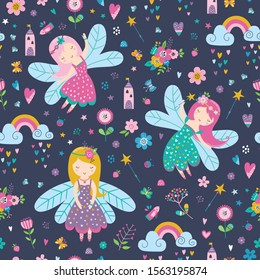 Vector seamless childish pattern with fairy, flowers,rainbow and other elements. Fairy with a magic wand vector illustration. Seamless pattern with cartoon fairy for kids, girl.