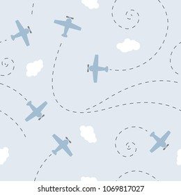 vector seamless children`s colorful pattern planes and clouds