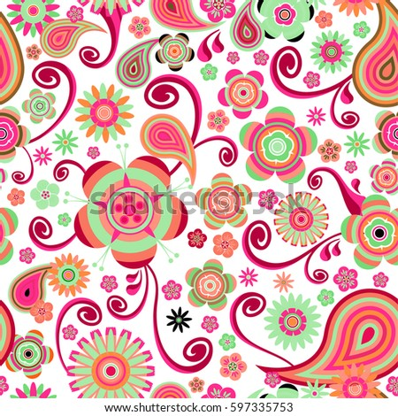 Vector Seamless Chinese Flower Pattern Stock Vector Royalty Free