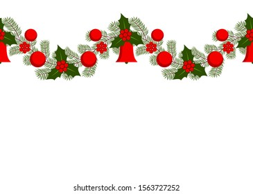 vector seamless christmas garland on white background