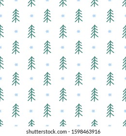 Vector Seamless Christmas and New Year`s pattern. Winter and Christmas elements. Wrap for gifts. Vector illustration. Doodle style.