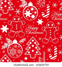 Vector seamless christmas pattern in red background