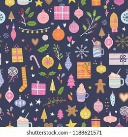 Vector seamless Christmas pattern. Xmas and winter.
