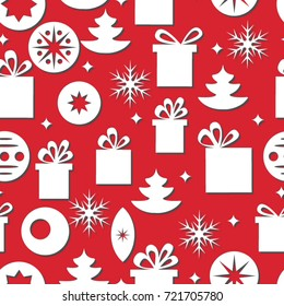 Vector seamless christmas red background with gifts, snowflakes, christmas trees and toys.