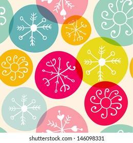 Vector seamless Christmas snowflake pattern texture