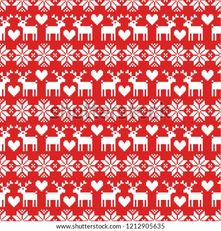 537549b76009b Vector seamless Christmas sweater pattern with deers on red background.  Pefrect for wrapping paper or fabric. - Vector