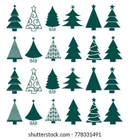 Vector seamless Christmas tree backgrounds. Winter holidays symbols. Christmas and New Year concept New Year's background.Design for banner, packing paper, postcard, poster. Vector illustration.