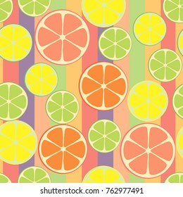 Vector seamless citrus pattern. Colorful fruit background.
