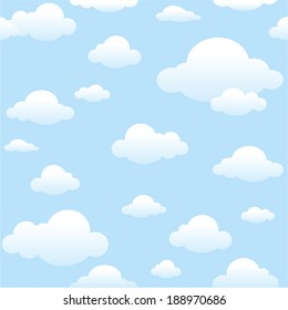 vector seamless clouds pattern - Separate layers for easy editing