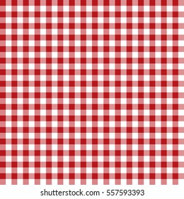 Vector. Seamless coarse red checkered vector plaid fabric pattern texture. Modified stripes consisting of crossed horizontal and vertical lines forming squares.