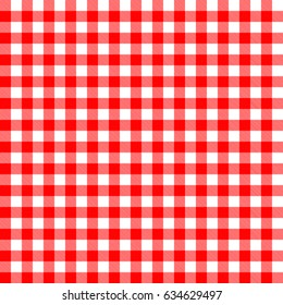Vector. Seamless coarse red checkered vector plaid fabric pattern texture.
