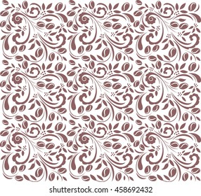 Vector seamless coffee pattern with coffee beans and floral elements.