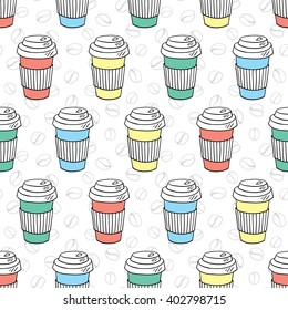 vector seamless coffee pattern with coffee to go paper cups and coffee bean background