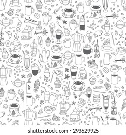 Vector seamless coffee, sweets and tea pattern