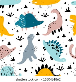 Vector seamless color repeating pattern with dinosaurs in Scandinavian style. Childish seamless pattern with hand-drawn dinosaurs. Vector illustration of dinosaurs. Vector stock illustration.