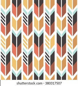 vector seamless colorful ethnic pattern with arrows aztec