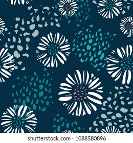 Vector seamless colorful floral background pattern. Summery, sophisticated  navy blue, turquoise, white daisy pattern with organic texture design in the background.