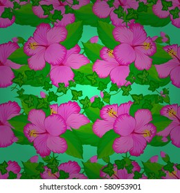 Vector seamless colorful floral pattern on a green background. Hand drawn floral texture, motley decorative flowers.