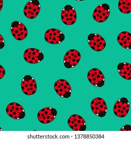 Vector seamless colorful pattern with ladybugs.