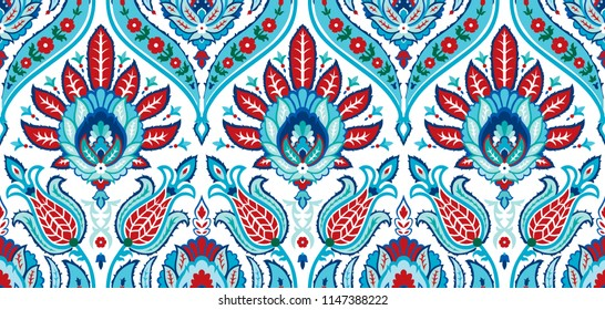 Vector seamless colorful pattern in turkish style. Vintage decorative background. Hand drawn ornament. Islam, Arabic, ottoman motifs. Wallpaper, fabric, wrapping paper print.