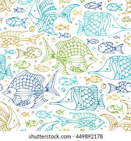 Vector seamless colourful doodles fish pattern. Various sea fishes on white background. Boundless undersea background.