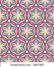Vector seamless colourful ornamental background made of mosaic. See MORE VECTOR BACKGROUNDS in my portfolio.
