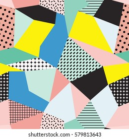 Vector seamless creative pattern with geometric composition in modern abstract style. Pink, yellow and blue colors. Background for printing brochure, print, design, card, web, magazines, wallpapers.