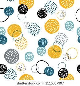 Vector seamless creative pattern with hand draw abstract circles. Seamless pattern for printing brochure, poster, party, summer print, textile design, card. Scandinavian style.