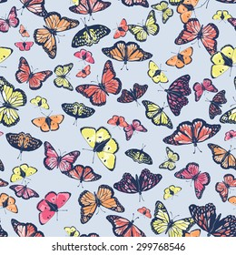 Vector seamless cute graphical artistic hand drawn butterfly pattern. Spring summer time. Colorful tropical background.