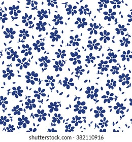 vector seamless cute minimalistic graphical little ditsy flower pattern with leaves, naive, gentle romantic floral background print, colorful spring summer mood, holidays, garden flora.