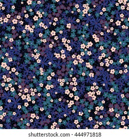 vector seamless cute naive gentle romantic flower ditsy pattern, wild flowers, spring summer time, nature in bloom, colorful floral background allover print