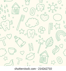 Vector seamless cute pattern with fairy magic teeth, toothpaste, houses and baby elements