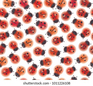 Vector seamless cute pattern of ladybugs, isolated on white.