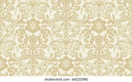 Vector seamless damask pattern. Golden and ivory image. Rich ornament, old damascus style pattern for wallpapers, textile, scrapbooking etc.