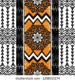 Vector Seamless Decorative Ethnic pattern. Native African Motifs. Background with Tribal Ornament, Leopard Spots. Print for fashion, textile, paper and cover. Hand drawn illustration